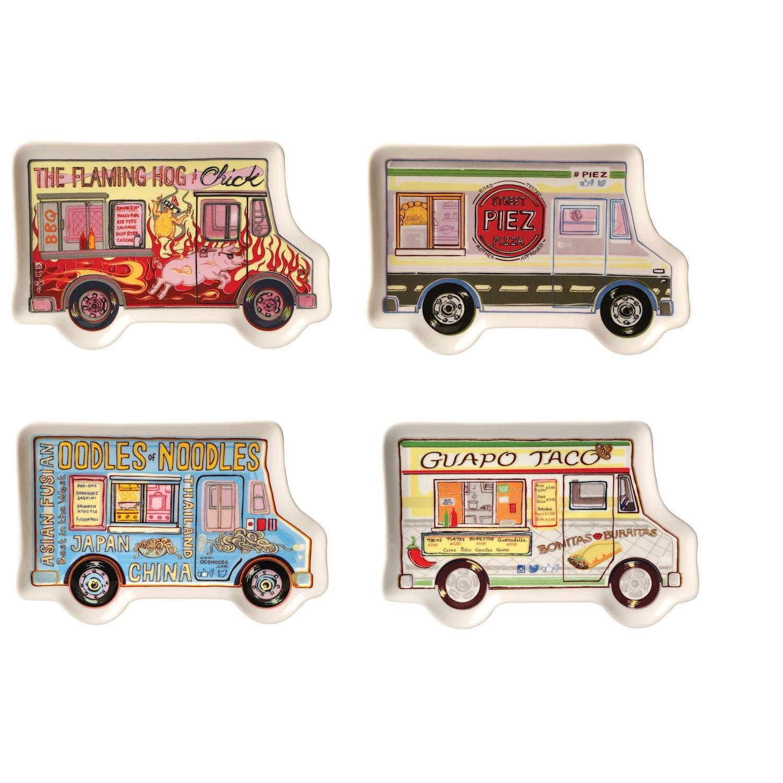 Godinger Set of 4 Food Truck Snack Plates - Novelty Ceramic Vehicle-Shaped Dishes