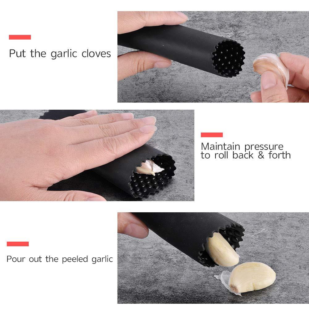 Urbeutyke Garlic Press 304 Steel Stainless Garlic Crusher Professional Grade Manual Garlic Squeezer Masher Tool with 1PC Upgrade Silicon Garlic Peeler