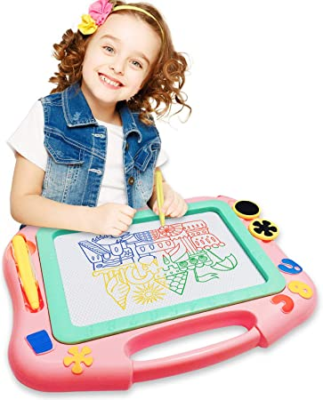FONLLAM Magnetic Drawing Board - Magna Writing Doodle Board - Educational Toys for Kids, Toddlers Girls, Boys, Erasable Pad for Writing Painting (Pink)