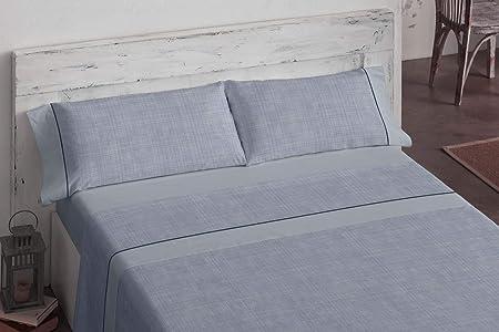 Burrito Blanco Juego de Sábanas 90 x 190/200 cm 100% Algodón con Diseño De Textura en Tonos Azules/Juego de Cama 698 de 90x190 hasta 90x200 cm, Azul: Amazon.es: Hogar