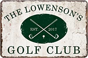 Pattern Pop Personalized Vintage Distressed Look Golf Club Metal Room Sign