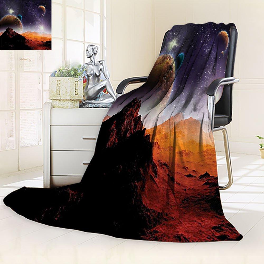 Galaxy Blanket Fantasy Custom by Nalohomeqq Earth and Cosmos Solar Sky Nebula Orbit Comet Horizon Picture Fabric Accessories Hypoallergenic Printed Fleece Blanket Extra Navy Peru Black