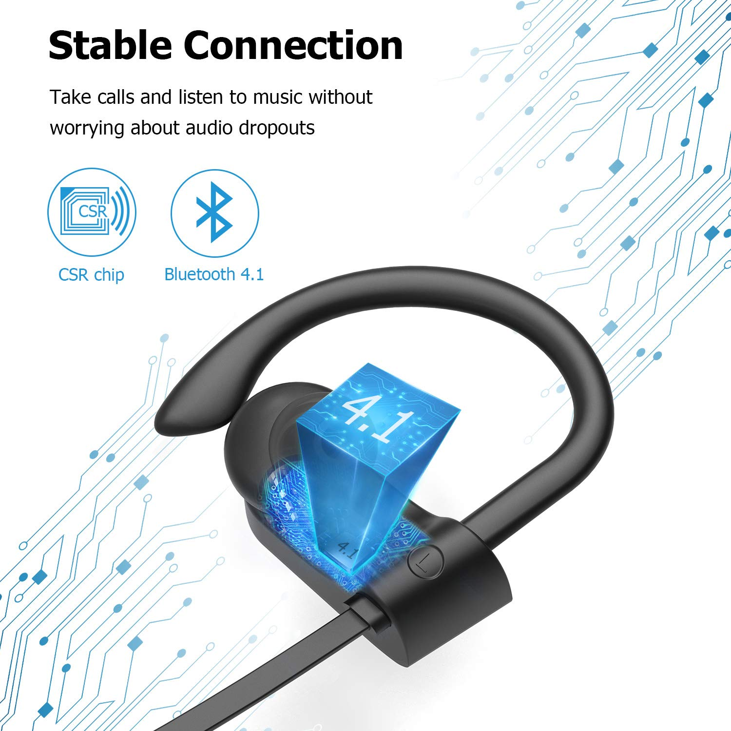 Bluetooth Headphones, LETSCOM Wireless Earbuds IPX7 Waterproof Noise Cancelling Headsets, Richer Bass & HiFi Stereo Sports Earphones 8 Hours Playtime Running Headphones with Travel Case by LETSCOM (Image #3)