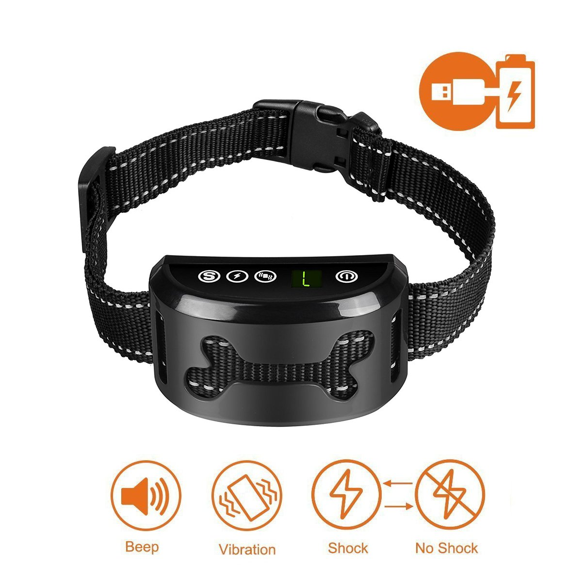 WEFOO No Bark Collar – Anti Bark Collar, Anti Barking Device with Vibration and Harmless, Rechargeable and Waterproof bark Shock Collar for Small Medium Large Dog
