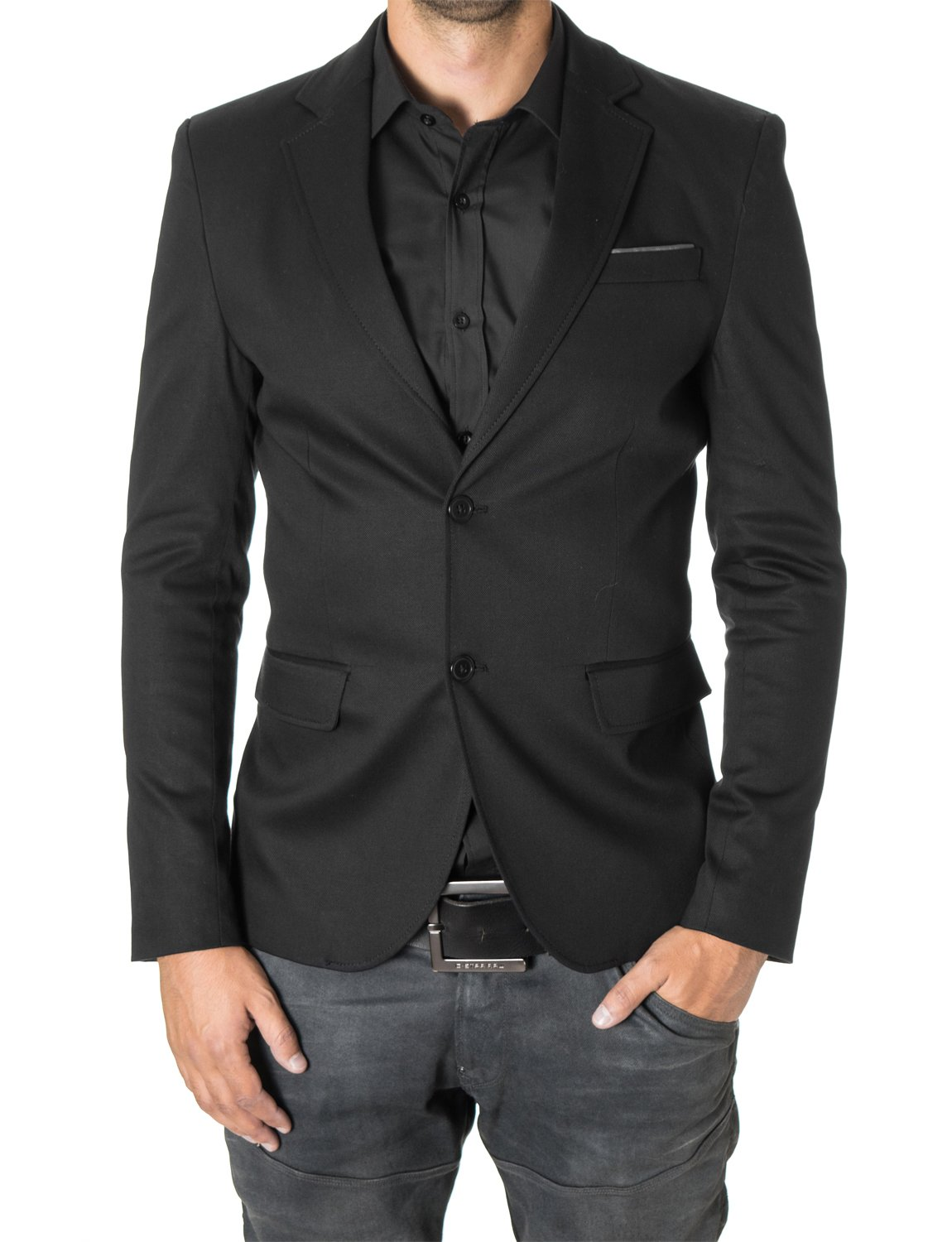 MODERNO Mens Blazer Casual Slim Fit 2 Buttons Cotton Sport Coat (MOD14517B) Black US L