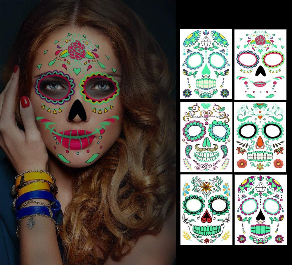 Temporary Face Tattoos, 6 sheets Day of the Dead Decorations Glow in The Dark,Sugar Skull Stickers Halloween Makeup for Men and Women (Face Tattoos)