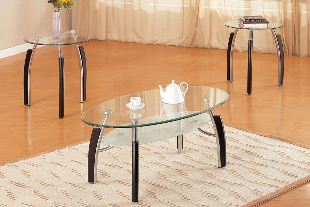 3piece Double Decker Glass Coffee Table End Tables Set Amazon Ca Home Kitchen
