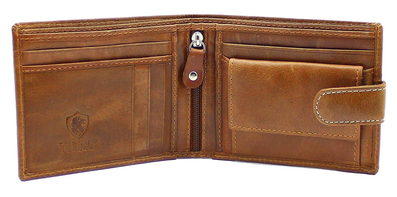 Topsum London RFID Carteras Premium de Cuero Genuino para Hombres - Monedero - Caja de Regalo - 4019 - Marrón: Amazon.es: Equipaje