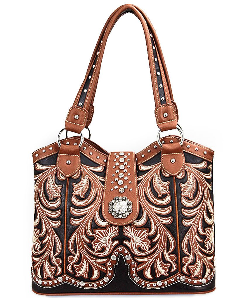 Montana West Concealed Carry, Boot Scroll Scoop Top Tote -Brown