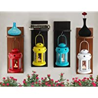 Tied Ribbons Lantern Tea Light Holder with Wooden Shelf, Set of 4