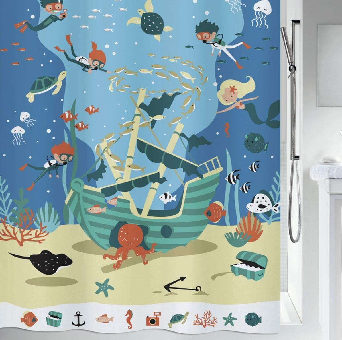 Spirella 180 x 200 100/% poliestere tenda da doccia in tessuto multicolore collezione Pirates