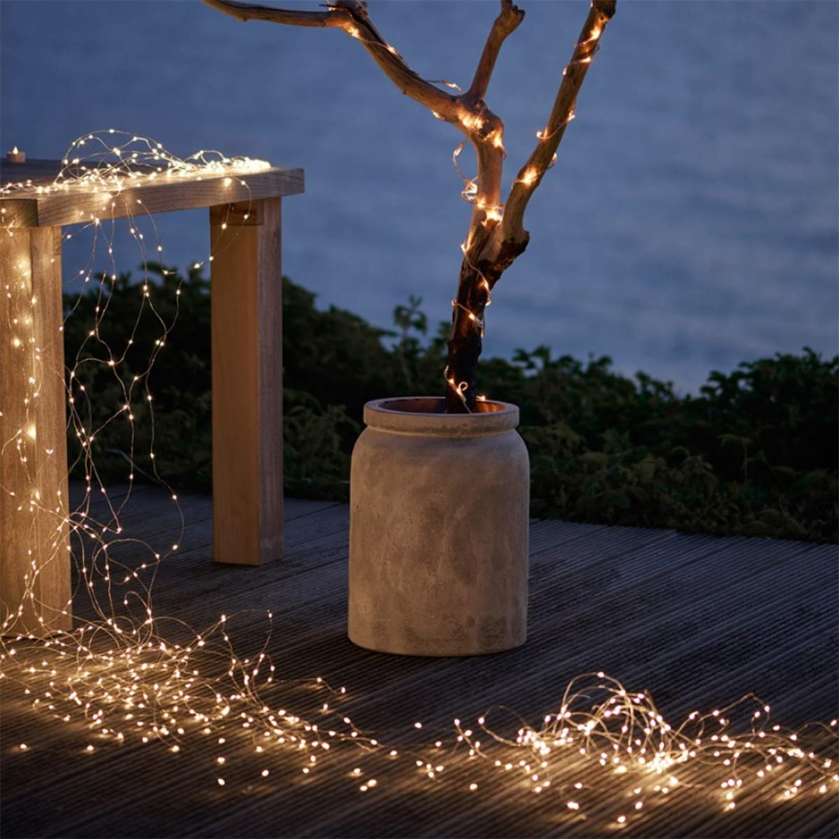 Weihnachtsbeleuchtung Akku.Lichterkette 200 Leds Greempire 2pcs Warmweiß Kupferdraht Silber