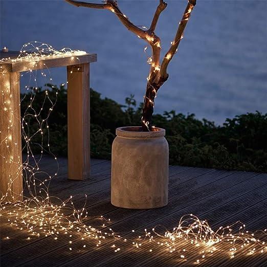 Lichterkette Batterie 200 leds Bunt Kupferdraht von GREEMPIRE Wasserdicht Silber Lichterkette Innen Au/ßen Deko f/ür Party Hochzeit Valentinstag 2Pcs