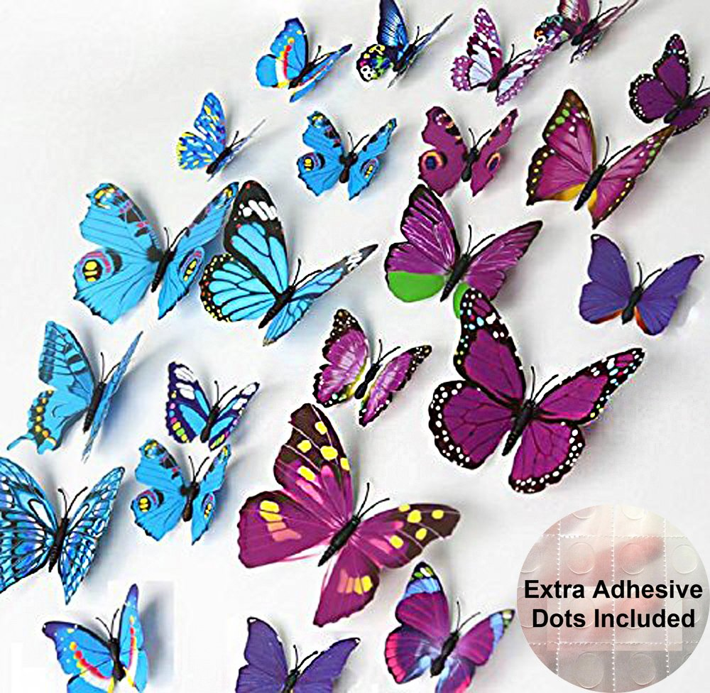 12 Blue+12 Purple Pack of 2 Color ElecMotive/® 24 Pcs 2 Packs Beautiful 3D Butterfly Wall Decals DIY Home Decorations Art Decor Wall Stickers /& Murals for Babys Bedroom TV Background Living Room