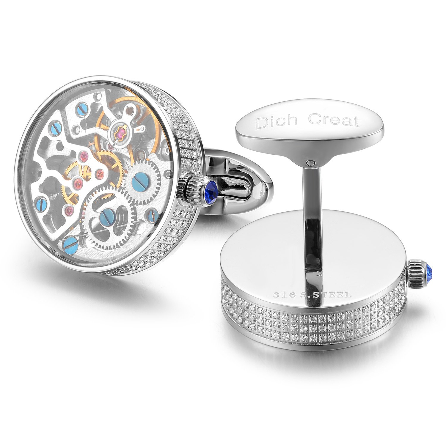 Dich Creat Rhodium Plated Hand Made Inlay Jewels Watch Movement Cufflinks Covered With Glass