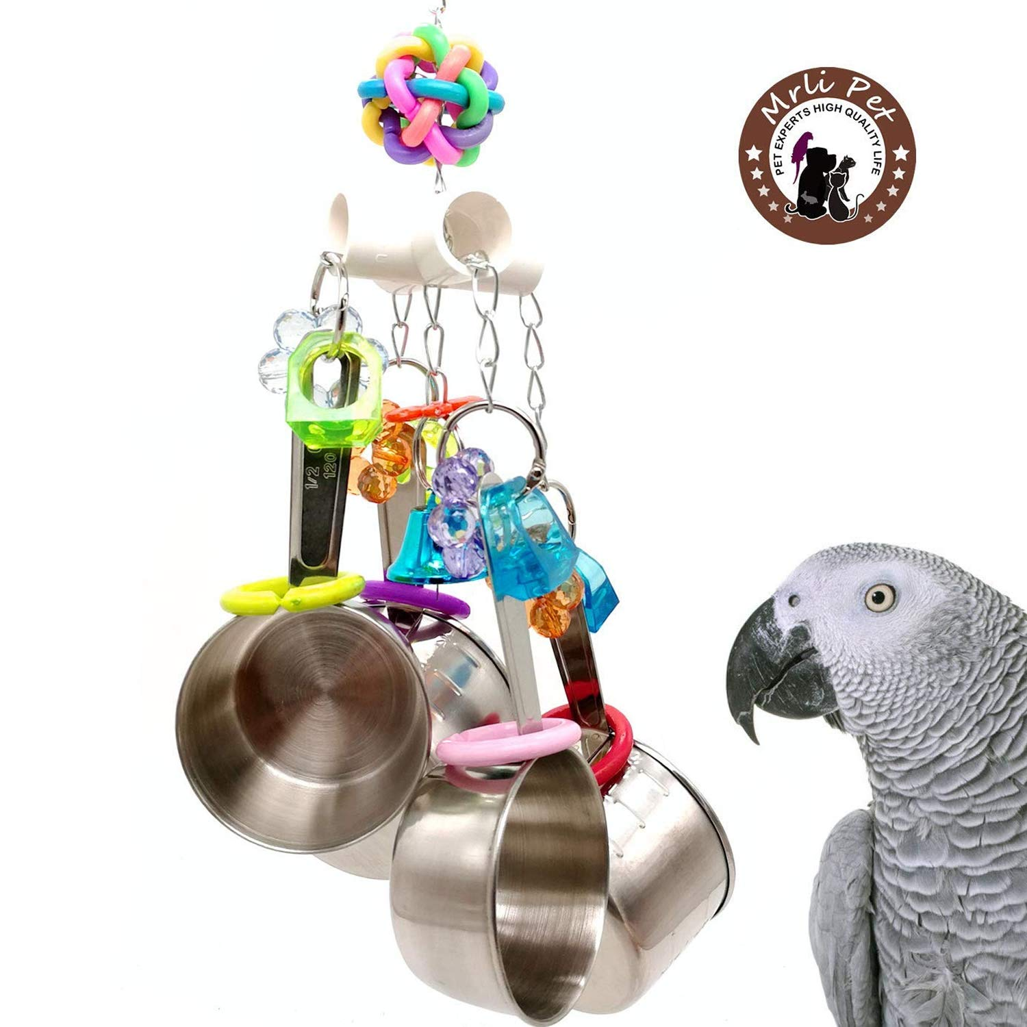 Mrli Pet Clacker Bird Toy Parrot Cage Toys Parrot Bell Toy Bird Chew Toys Conure Cockatoo Macaw African Grey Amazon Budgie Parakeet Cockatiel Lovebird Finch
