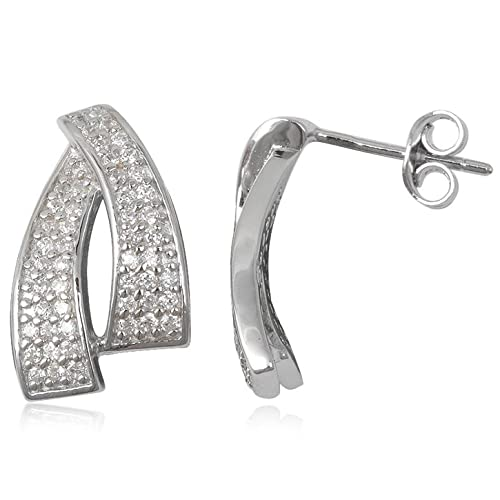 66e05f466984 EYS JEWELRY® Pendientes para señora 18 x 11 mm Zirconia plata de ley 925 en  rodio cristal-blanco con la caja Pendientes mujer  Amazon.es  Joyería