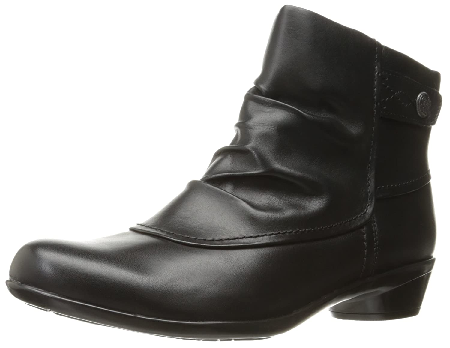 Black Leather Cobb Hill Womens Venera Veronica Ankle Bootie