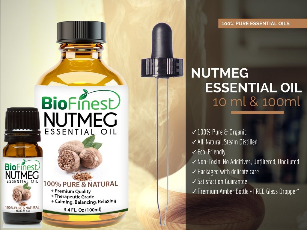 Amazon biofinest nutmeg oil 100 pure nutmeg essential oil swelling inflammation premium quality therapeutic grade best for aromatherapy free e book and dropper 100ml health personal care fandeluxe Image collections