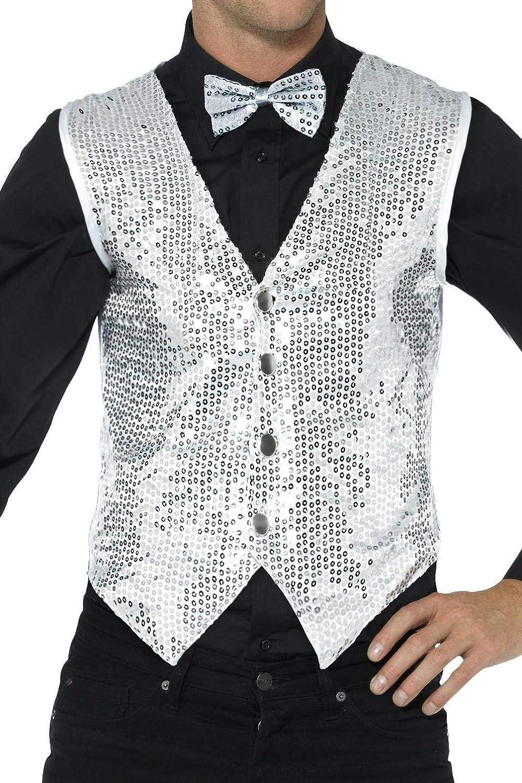 Smiffys-42938XL Chaleco de lentejuelas, para hombre, color plata, XL-Tamaño 46