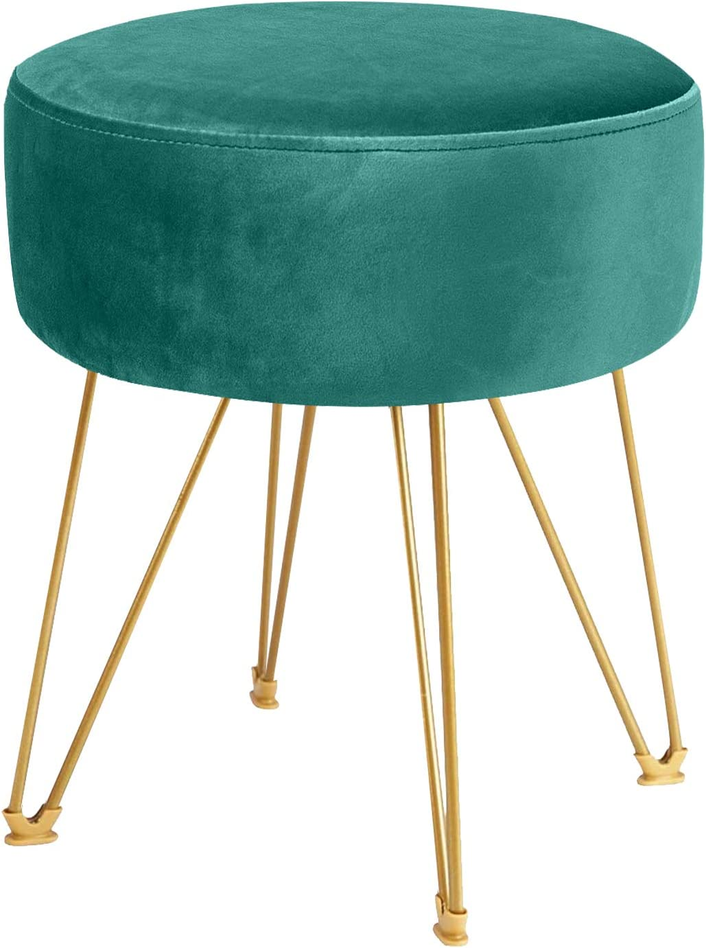 ERONE Round Footstool Ottoman Velvet Dressing Stool with Gold Metal Legs Upholstered Footrest,Makeup Chair Side Table for Kitchen Bedroom Living Room (Green)