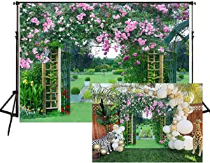 Garden Backdrops Spring Rose Photography Background 7X5ft Wedding Flower Floral Green Grass Vinyl Digital Printed Photo Studio Props YL015