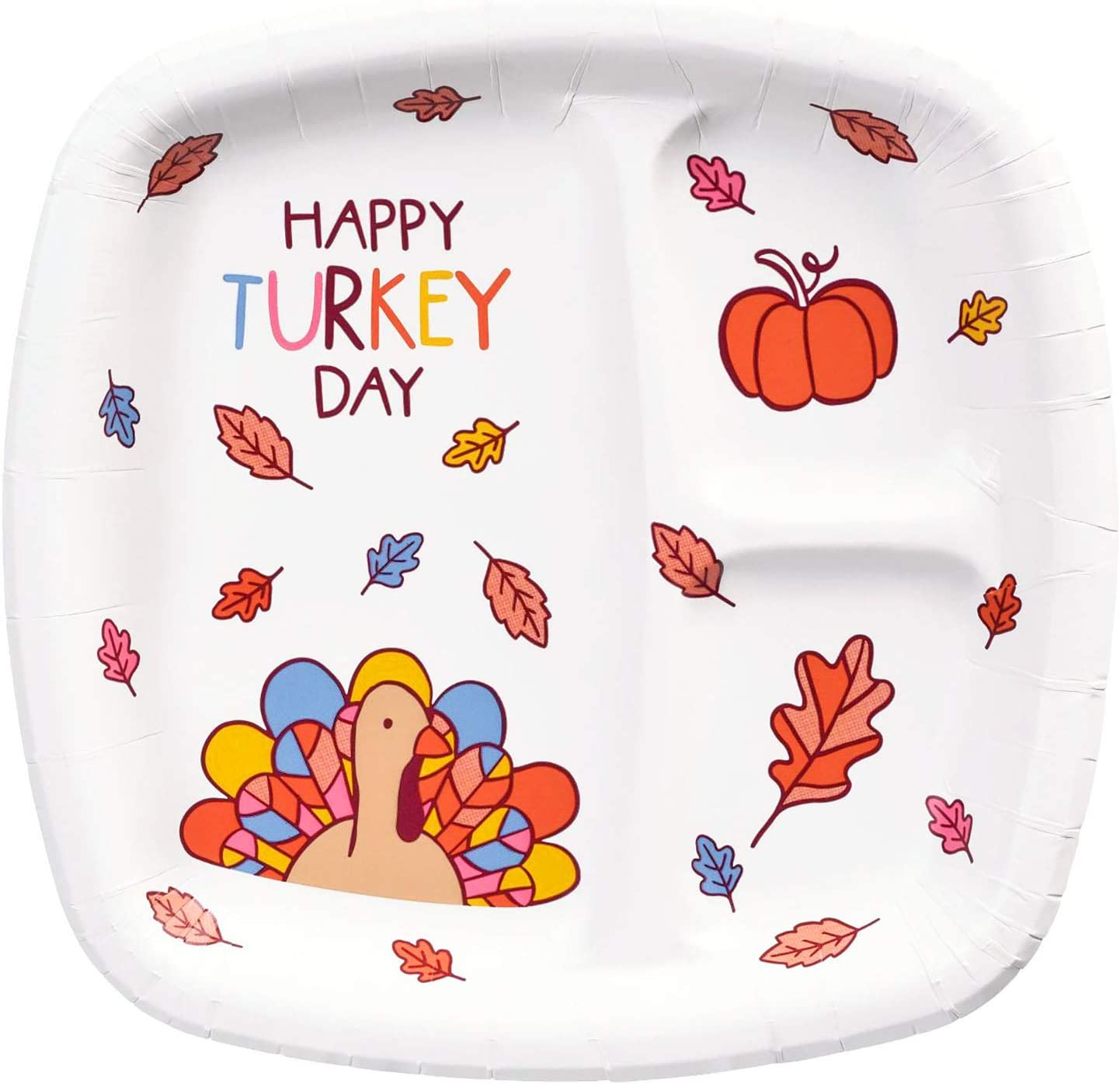 30 Pieces Kids Thanksgiving Happy Turkey Day Party Supplies Set Large Napkins Square Plates