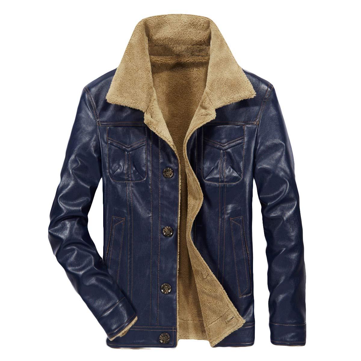 Fmeijia Men's Leisure Zipper PU Leather Velvet Coat Retro Long Sleeve Jacket Tops by Fmeijia