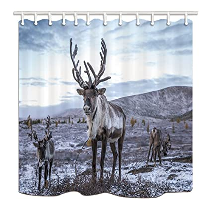 NYMB Christmas Elk Shower Curtains For Bathroom Reindeer Family In Snow Polyester Fabric Waterproof