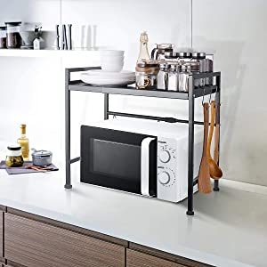 Extendable Microwave Oven Rack Shelf Stand with 2 Tiers Storage Shelving Unit - Expandable Length & Height - with 3 Hooks Perfect for Kitchen Counter Organizer