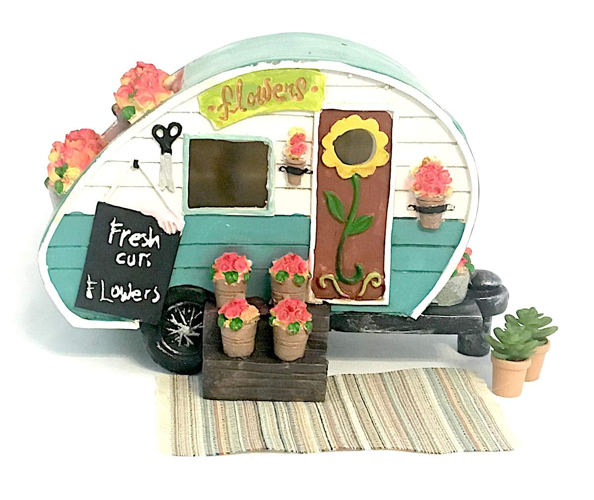 Snickerdoodle Smalls Teal LED Flower Camp Trailer for Miniature Fairy Gardens, Terrariums, and Home Decor; Set Includes Trailer, Rug, 2 Pots with Faux Succulents