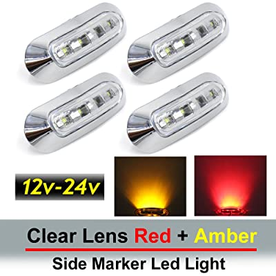 4 pcs TMH 3.6 Inch submersible 4 LED Clear White lens Red & Amber Side Led Marker (2 + 2) 10-30v DC, Truck Trailer marker lights, Marker light amber, Rear side marker light, Boat Cab RV: Automotive