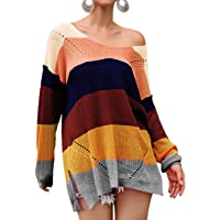 Best lady V Neck Off Shoulder Sweater for Women - Oversize Striped Pullover Knit Sweaters