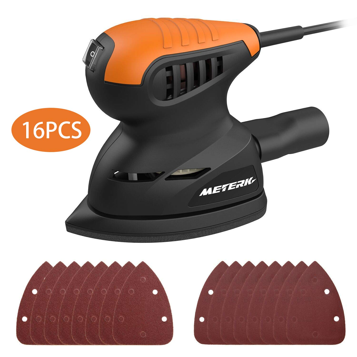 Random Orbit Sander, Meterk 13500RPM Mouse Detail Sander Wall Putty Polishing Machines Sander with 16PCS Sandpapers Dust Collection Port for Tight Spaces Sanding in Home Decoration and DIY Working by Meterk
