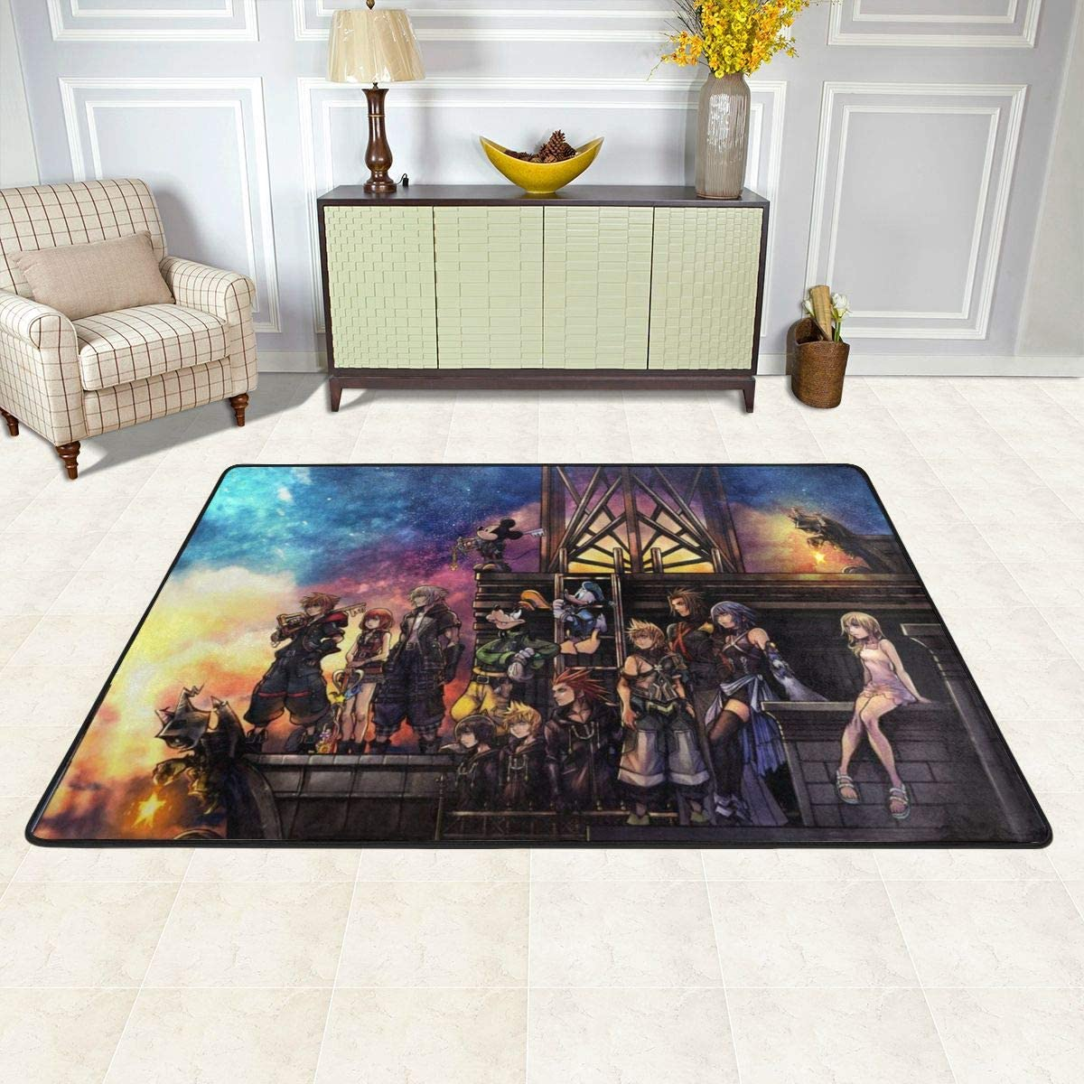Kingdom Hearts Non-Slip Carpet Area Rug Modern Flannel Microfiber Anime Cartoon Rectangle Carpet Decor Floor Rug Living Room,Bedroom,Study Floor Mat 6 X 4