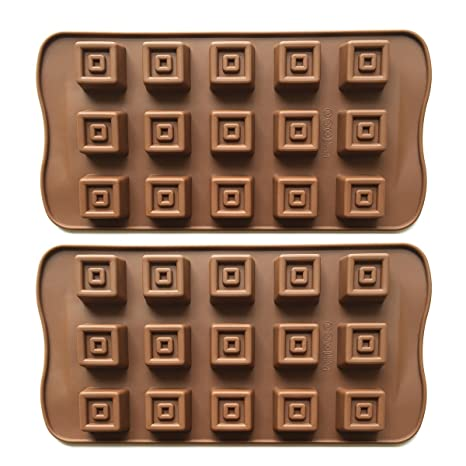 2 moldes cuadrados de silicona de 15 cavidades para hornear, dulces, galletas, cubitos