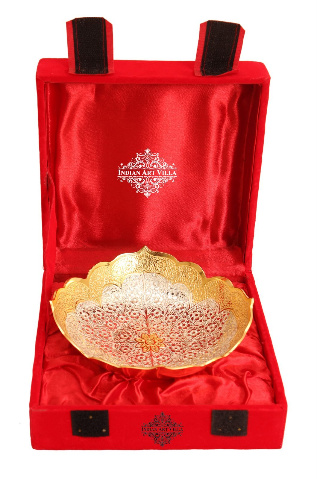 Indian Art Villa Handmade Round Design Silver Plated Gold Polished Deep Dish Bowl - Dry Fruits Desert Home Hotel Tableware Gift Item Decorative