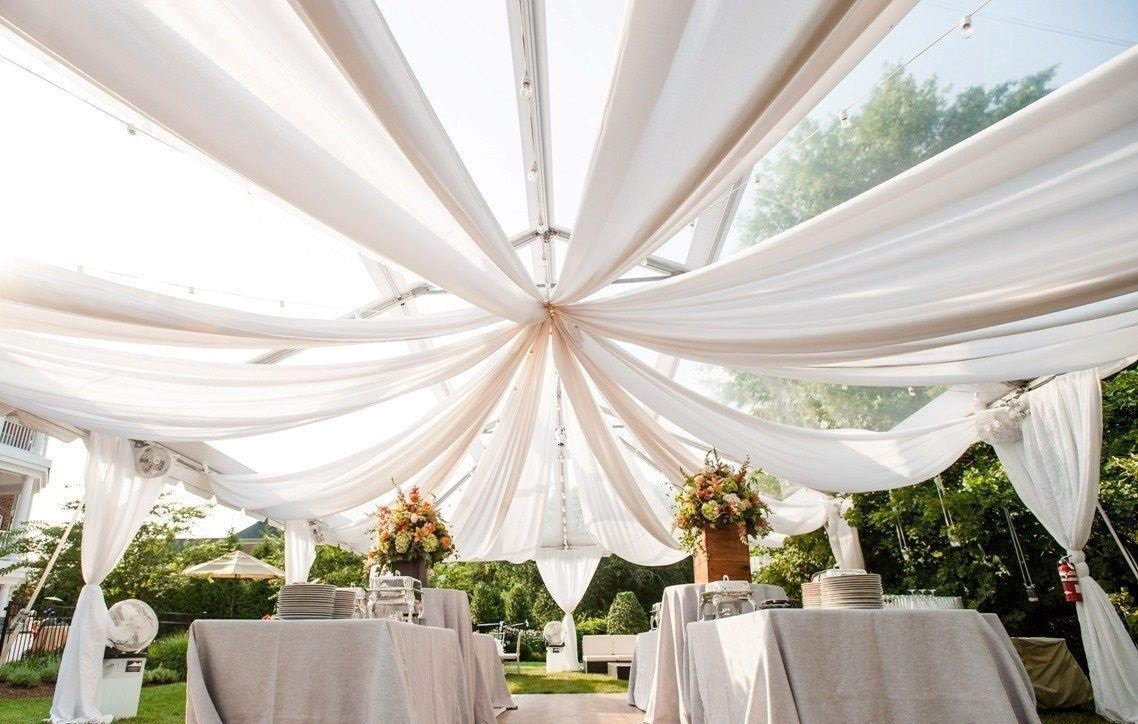 Ceiling Draping White Sheer Ceiling Curtain Voile Chiffon Ceiling Drape 10 Ft W X 30 Ft H Panel Wedding