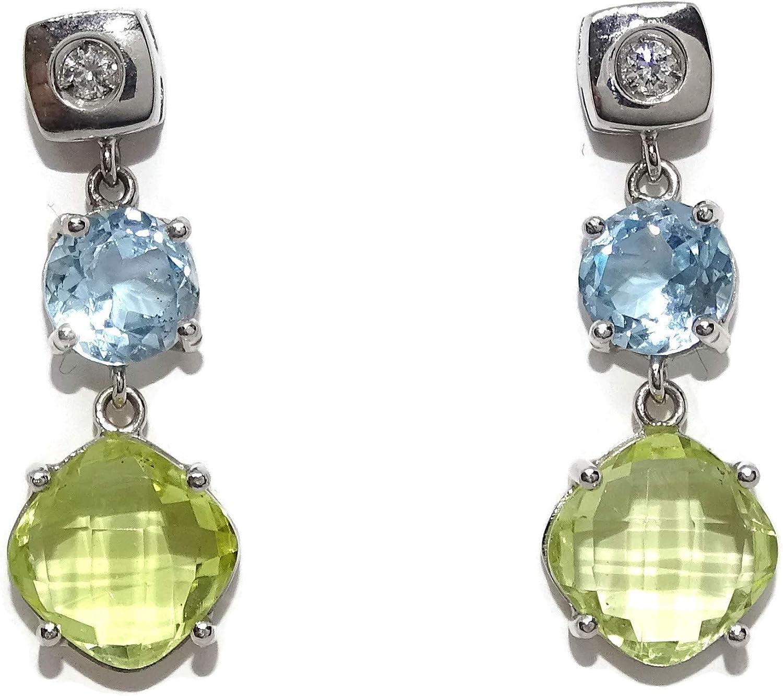Pendientes exclusivos de oro blanco de 18k, diamantes y piedras preciosas 2.60cm de largos. Cierre presion