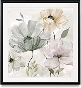 WEXFORD HOME Garden Grays Detail II Poppy Clematis Flowers Art Framed Landscape Painting Giclee Canvas Prints Home Wall Decor, 16 x 16