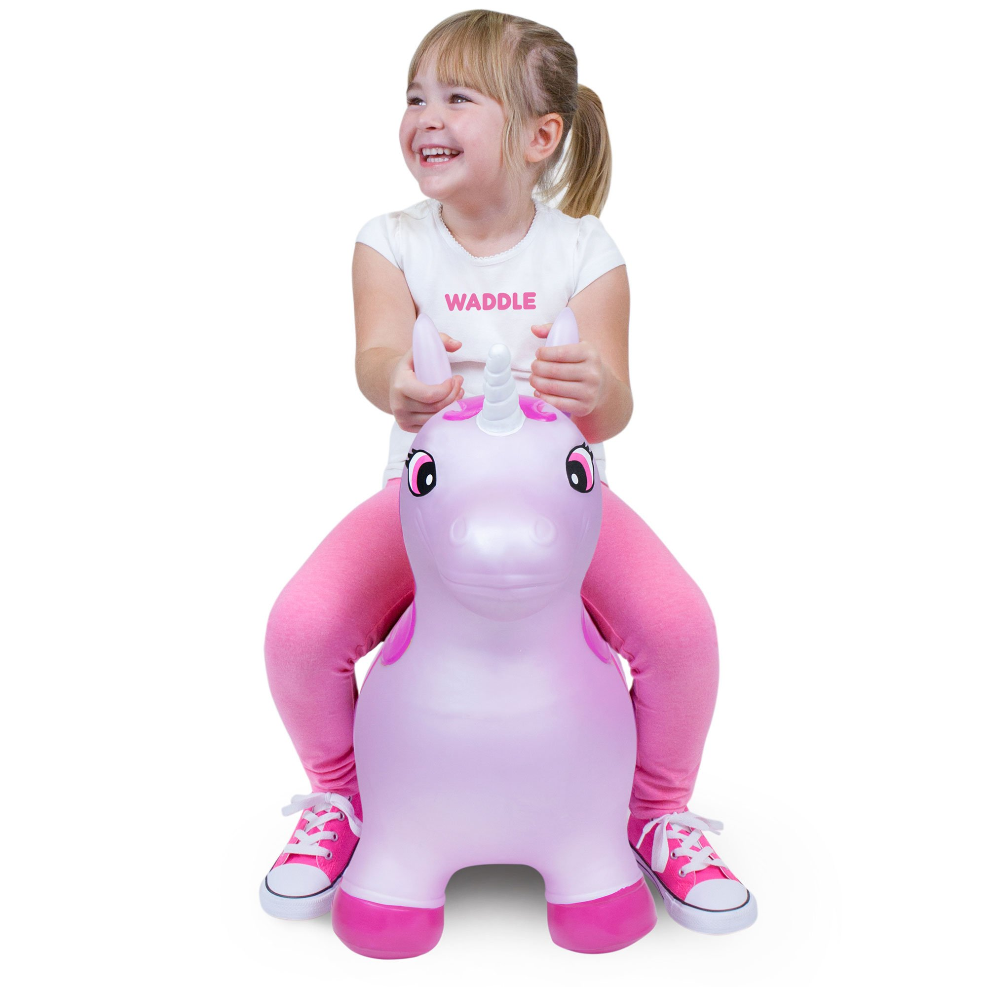 WADDLE Favorite Pink Unicorn Toy Hopper Ride On Inflatable Animal Kids Riding Bouncy Horse For Girls Twilight Sparkle Magical Pony Interactive for Toddlers and Children Gift Idea