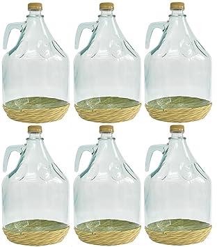 6er SET gärballon botella de vidrio forma de globo de cristal de botellas de vino de globos de cristal con forma de globo 5L BDO5Z: Amazon.es: Hogar