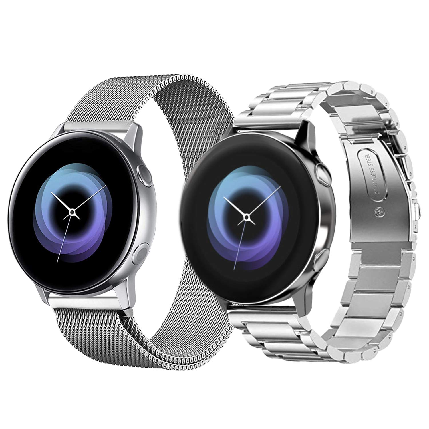 VICARA Compatible with Galaxy Watch Active (40mm) Bands, Stainless Steel Band + Mesh Metal Replacement Band for Galaxy Watch Active SM-R500 Smart ...