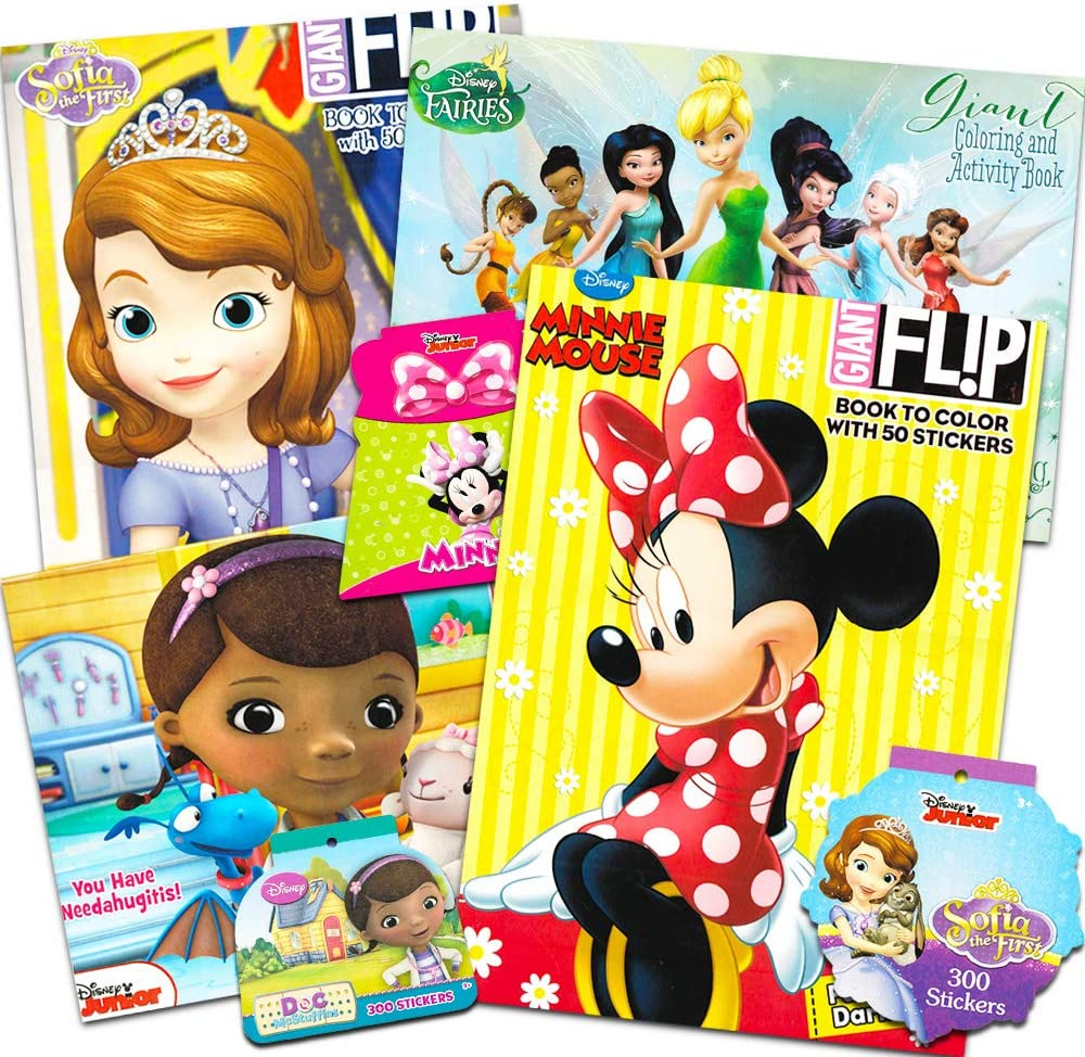 Amazon Com Disney Junior Gigantic Coloring Book Set For Girls Kids 4 Giant Coloring Books And Over 1000 Stickers Featuring Sofia The First Minnie Mouse Doc Mcstuffins And Fairies Toys Games