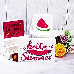Hello Summer Tiered Tray Decor Summer Wood Sign Sweet Summer Time Sign Kitchen Tiered Tray Sign Decorative for Rustic Shelf Decor (Watermelon)