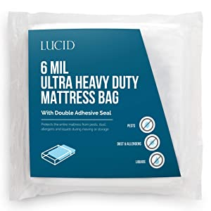 LUCID Storage or Disposal 6 Mil Ultra Heavy Duty Mattress Bag for Moving, King, Clear