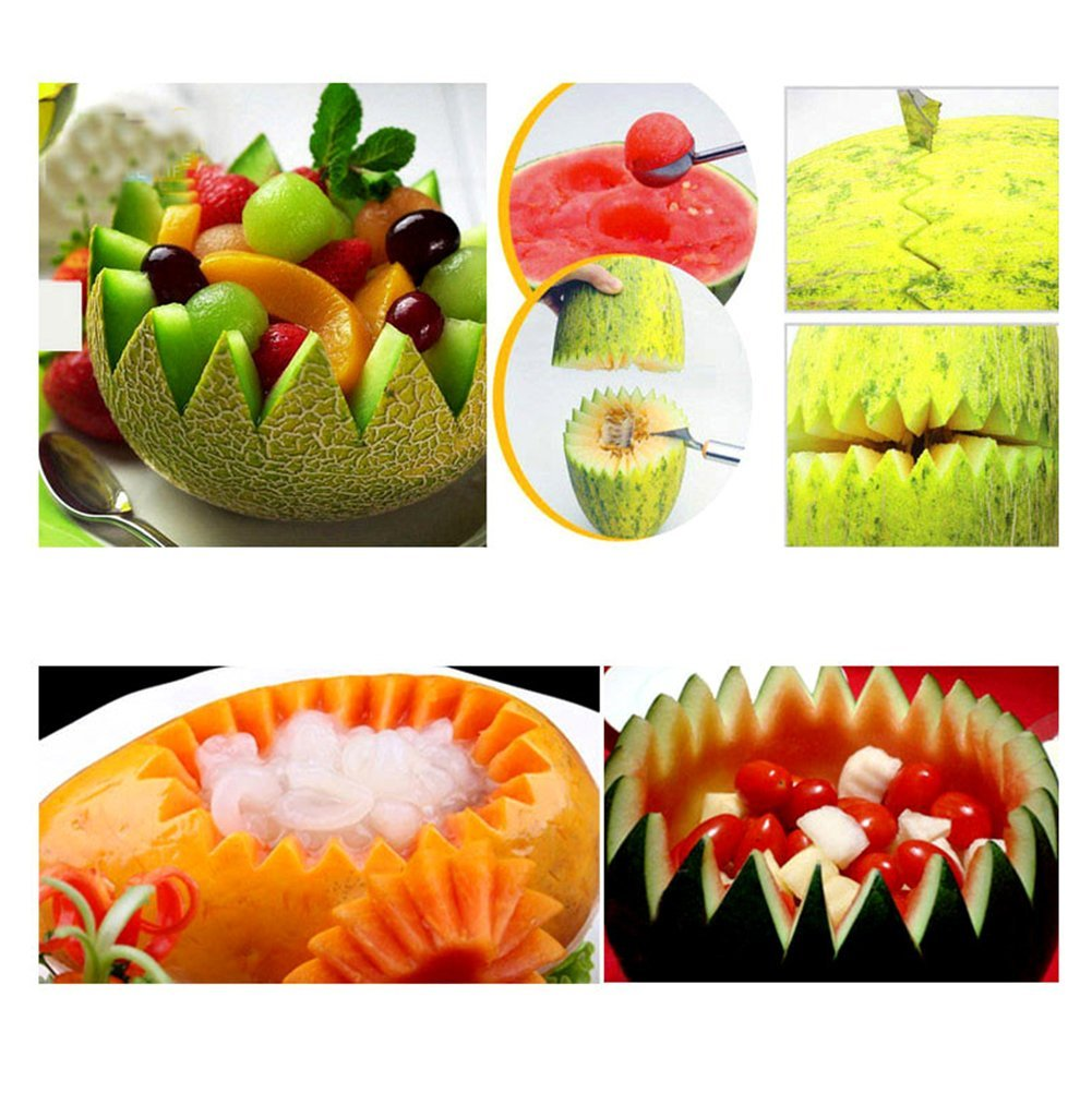 AIHOME™ 2 in 1 Dual-Purpose Fruit Knife Dig Ball Scoop Spoon Carving Ice Cream Melon Baller Stainless Steel