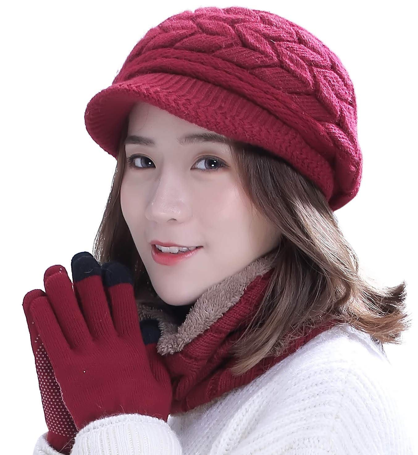 Winter Hat Gloves Scarf Set for Women Visor Snow Knit Skull Cap Infinity Scarves Touch Screen Mittens Burgundy by HINDAWI