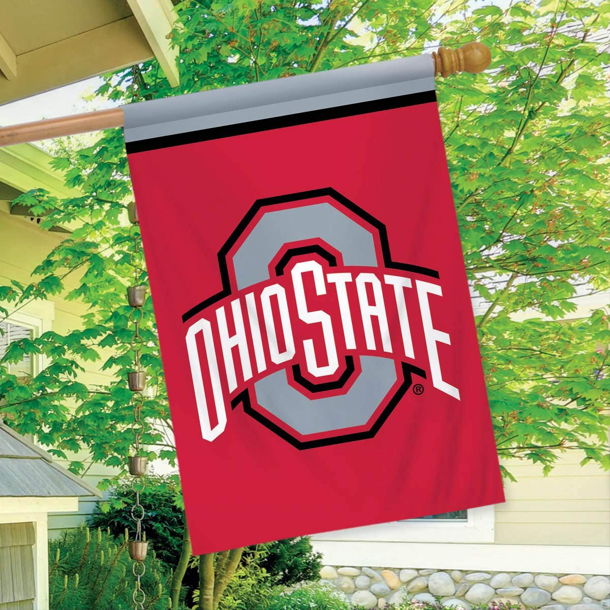 ohio state home decor.htm amazon com ohio state buckeyes house flag ncaa licensed 28  x 40  ohio state buckeyes house flag ncaa