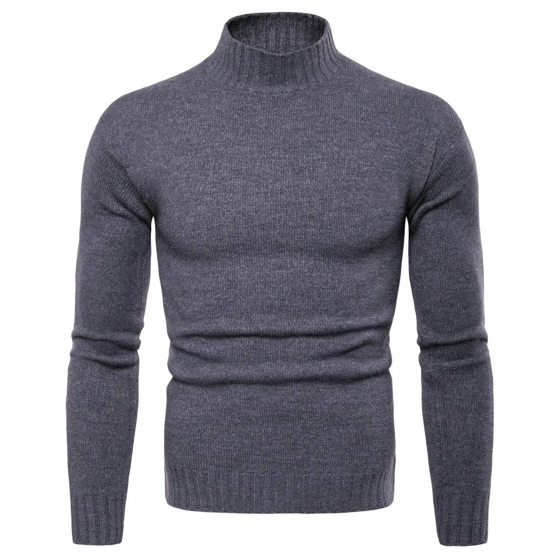 YUNY Mens Turtleneck Basic Plus Size Pure Colour Pullover Sweater Dark Grey XL